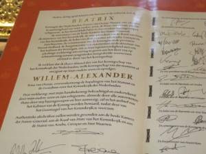 Official document of Queen Beatrix stepping down for her son Willem