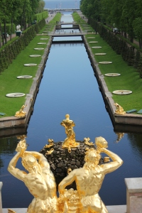 Peterhof Fountain and Canal to the Baltic Sea
