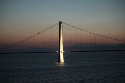 The Ostbroen Bridge between Denmark & Sweden at midnight