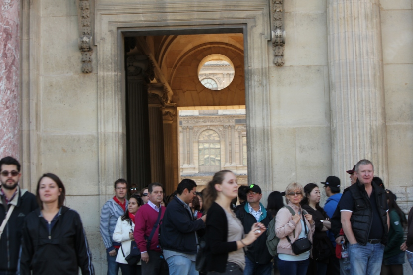 Towards the end to enter the Louvre