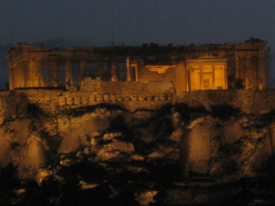 View of the Acropolis at night