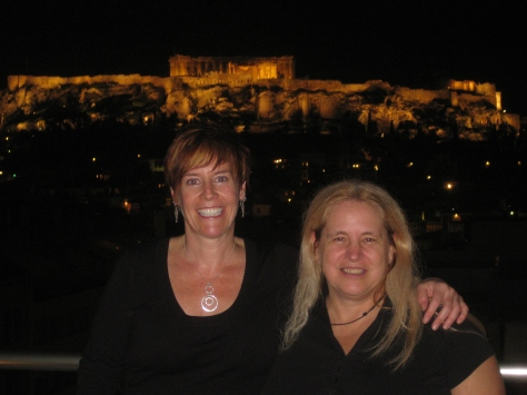 Cat & Sue and the Acopolis from the Attalos Hotel rooftop bar