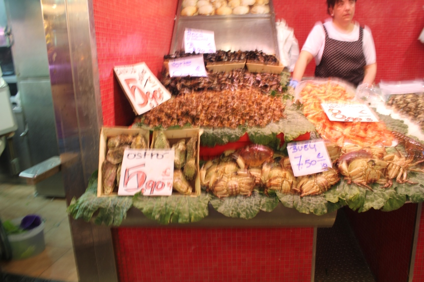 Crabs & shrimp at the La Boqueria
