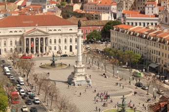 View of the opera house and Plaza from the Santa Justa Elevator