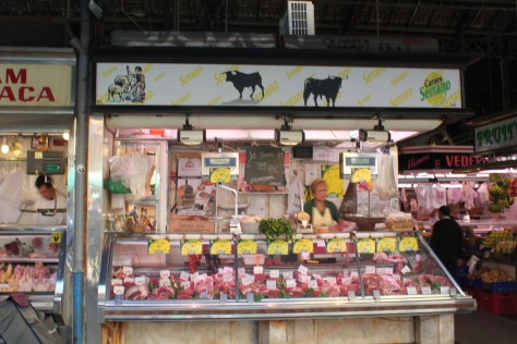 Stall that sells meat from bulls at La Boqueira