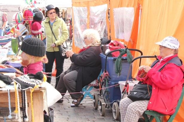 Knitters at the market