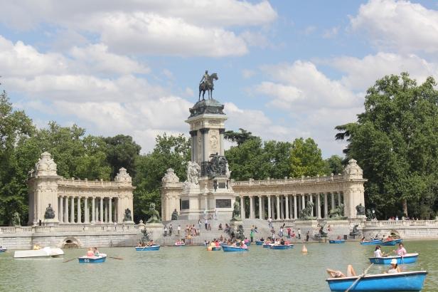Row boats in Retiro Park, Madrid