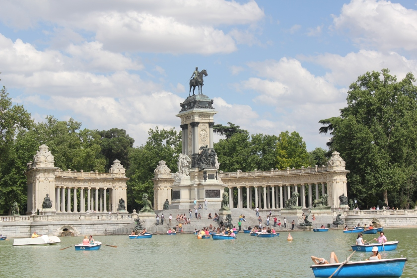 Row boats in Retiro Park, Madrid