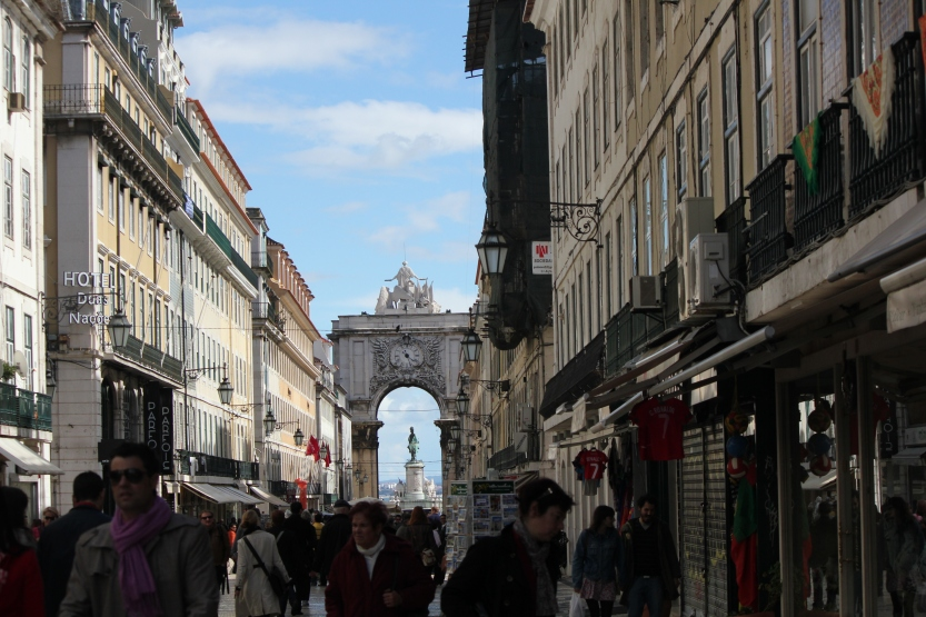 Pedestrian area in downtown Lisbon