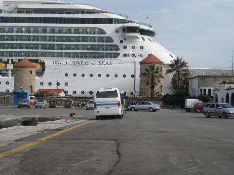 Ship docked near the walls