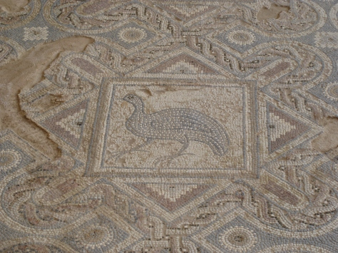 Peacock mosaic floor in Roman house