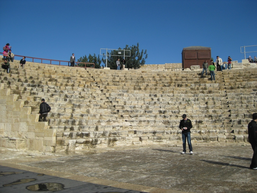 Testing out the sound on the stage of a Roman theater in Cyprus
