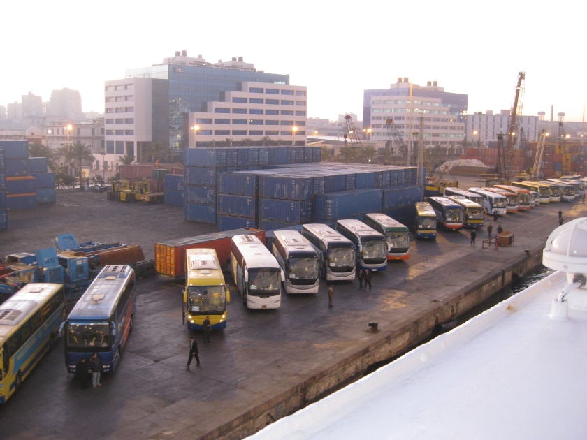 Buses lined up at the Port of Alexandria, Egypt