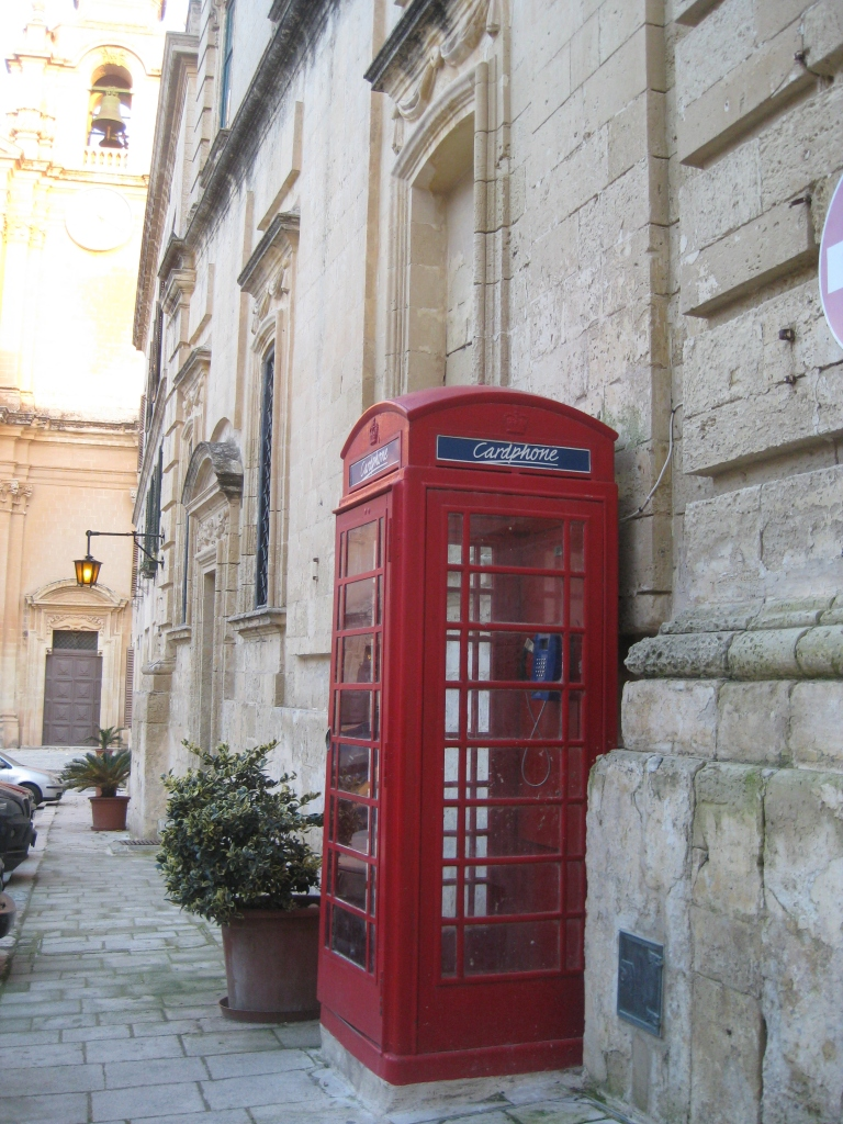 London-style phone booth in Mdina