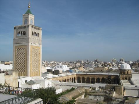 Rooftop view of mosque in Tunis