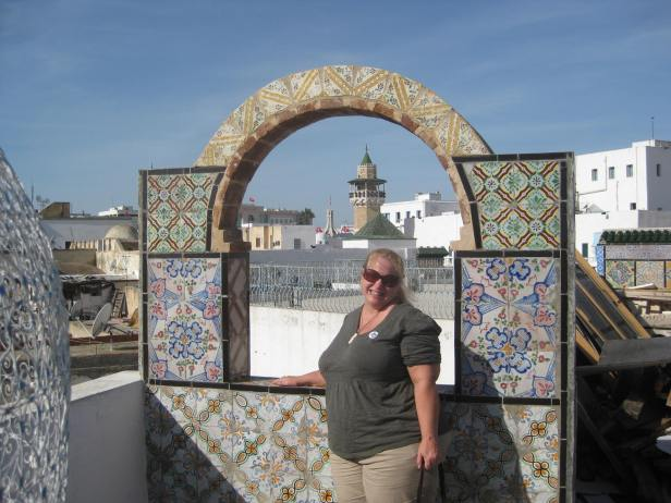 Me on a rooftop overlooking the souk in Tunis