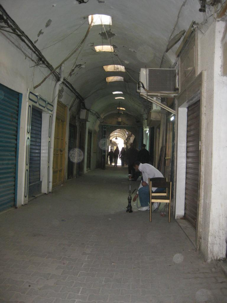 Covered souk at closing time