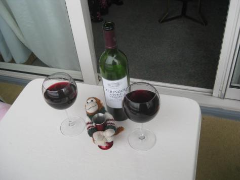 Sharing wine with my travel buddy, Bryan the monkey.