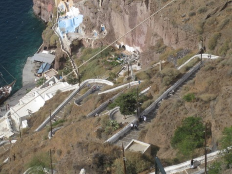 View of the stairs from Fira to the sea