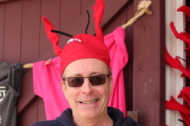 Marshall in Halifax wearing a lobster hat