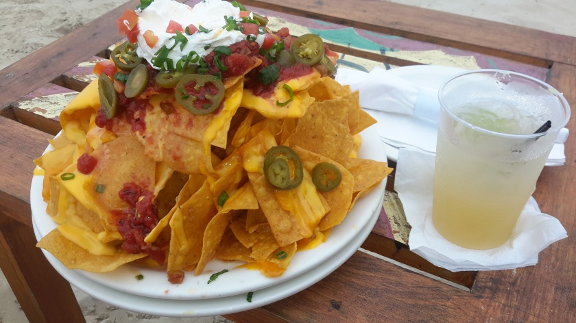 Lunch is nachos and a margarita